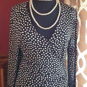 Jessica Howard black and white Polka dot wrap dres